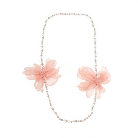 Collana lunga con perle, sfere e 2 fiori