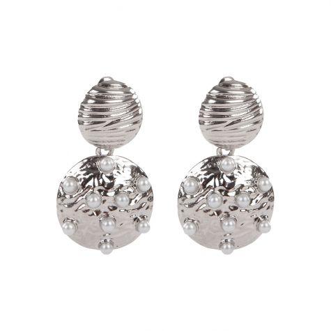 Orecchini tondo pendente argento con perle
