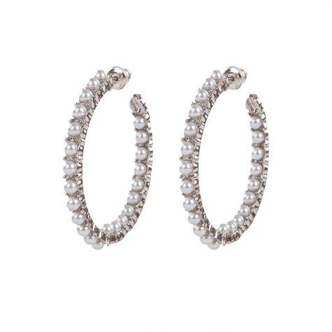Orecchini cerchio color argento decorato con perle
