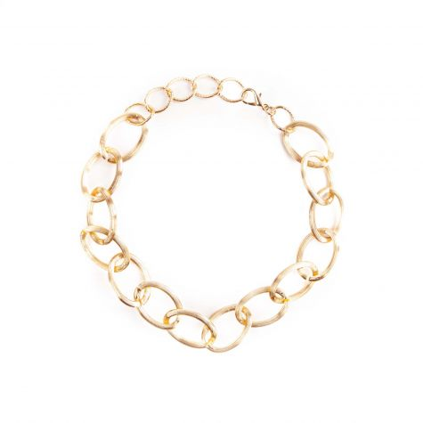 Collana catena ovale rigata colore oro in alluminio