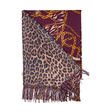 Sciarpa in lana reversibile fantasia catene-animalier