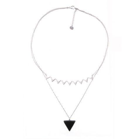 Collana 2 fili con triangoli e pietra nera