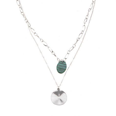Collana 2 fili con triangoli e pietra malachite