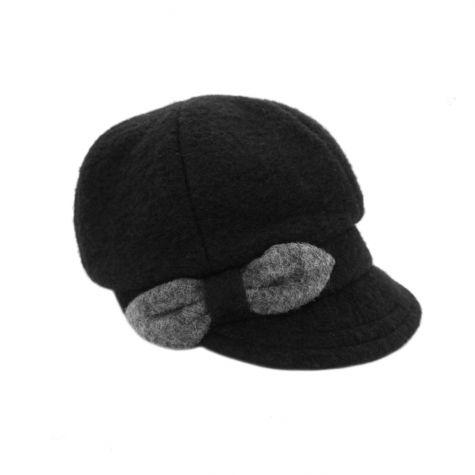 Cappello in lana cotta con fiocco laterale