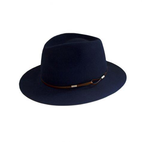 Cappello borsalino in lana con nastro color cuoio