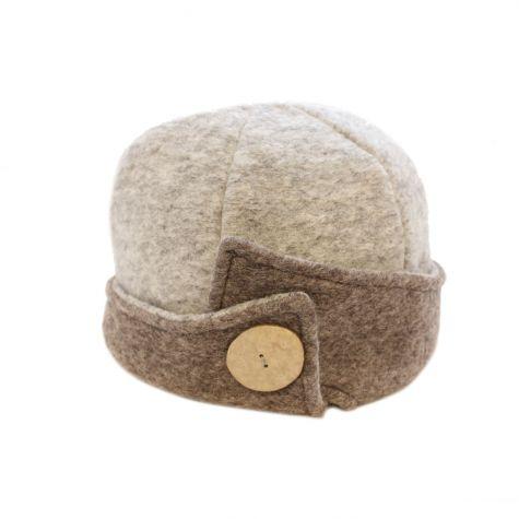 Cappello cloche in lana cotta con bottone