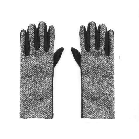 Guanti fantasia tweed grigio