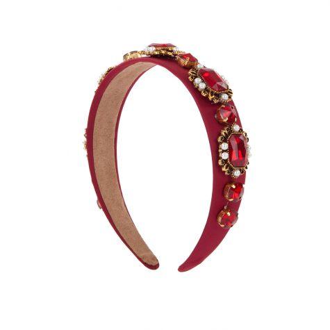 Cerchietto gioiello bordeaux con cabochon e perle