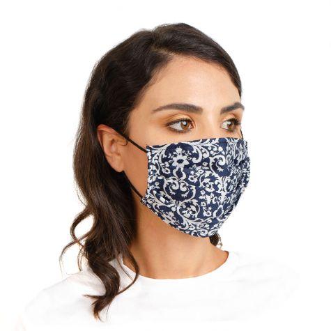 Mascherina con stampa liberty blu e bianco