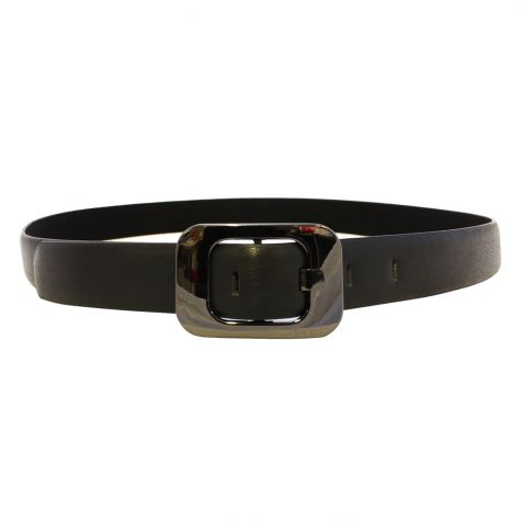 Cintura similpelle 3 cm fibbia rettangolare stondata