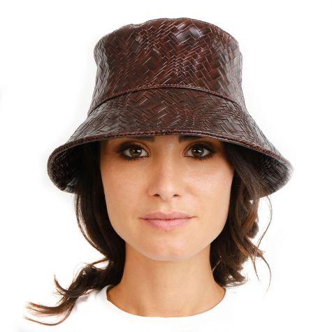 Cappello pescatore intrecciato color marrone
