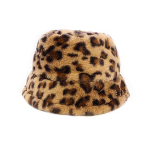 Cappello bucket ecopelliccia maculato