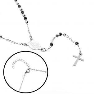 Collana rosario con croce con sfere nere