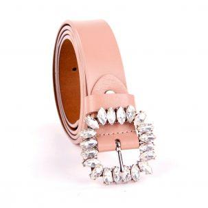 Cintura in pelle alta 3 cm color rosa con fibbia in strass
