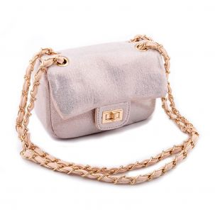 Borsa mini bag a tracolla con glitter color rosa