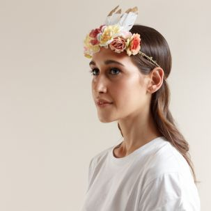 Fascia elastica con fiori e piume