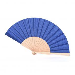 Ventaglio in tessuto color blu e legno