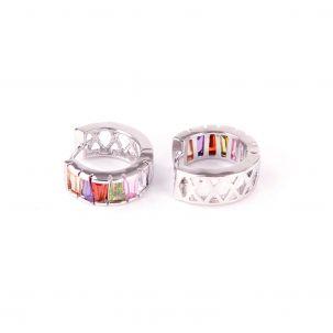 Orecchini cerchio con zirconi multicolor