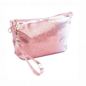 Beauty case svasato glitterato sfumato color bronzo/argento