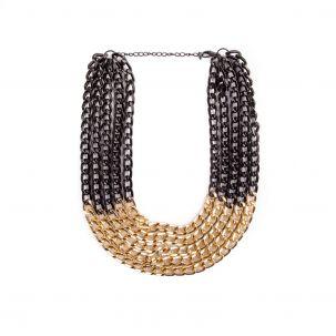 Collana catena 5 giri color nero e oro