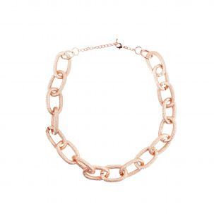 Collana catena zigrinata colore oro rosa