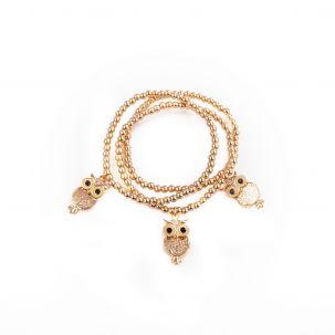 Set 3 bracciali elastici con gufo color oro