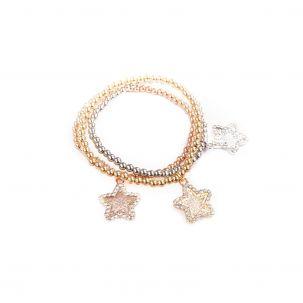 Set 3 bracciali elastici con stelle - 3 ori