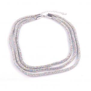 Collana tre fili tubolari strass colore aurora boreale