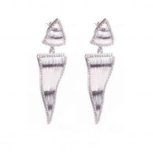 Orecchini triangolo strass onda di color argento