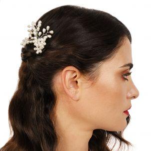 Forcina con rami e fiori di perle bianche