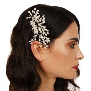 Pettinino con rami e foglie di perle bianche