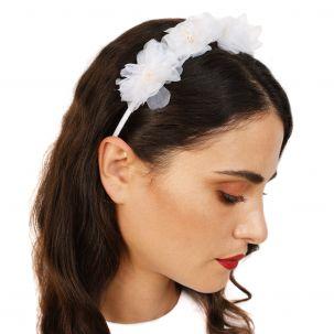 Cerchietto con 5 fiori di organza color bianco