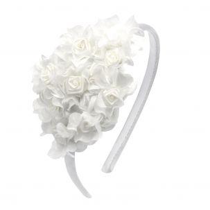 Cerchietto con mazzo di rose bianche