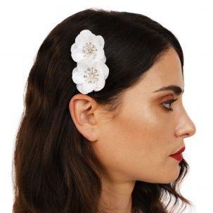 Pettinino con due fiori bianchi e strass