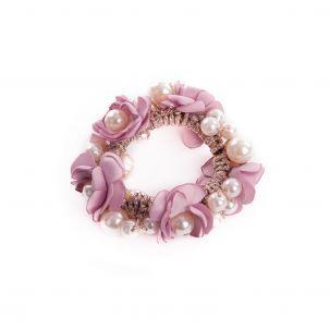 Fermacoda elastico con perle e fiori color rosa