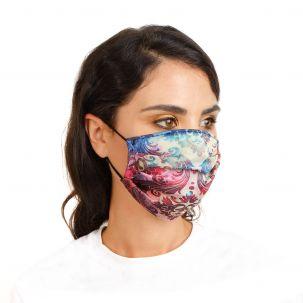 Mascherina con stampa damascata multicolor